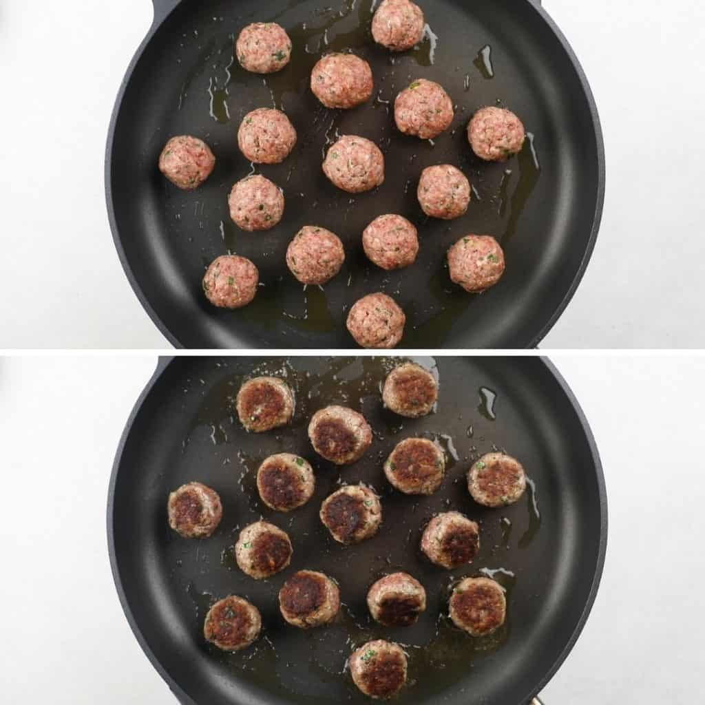 Meatballs in a large skillet before and after cooking.
