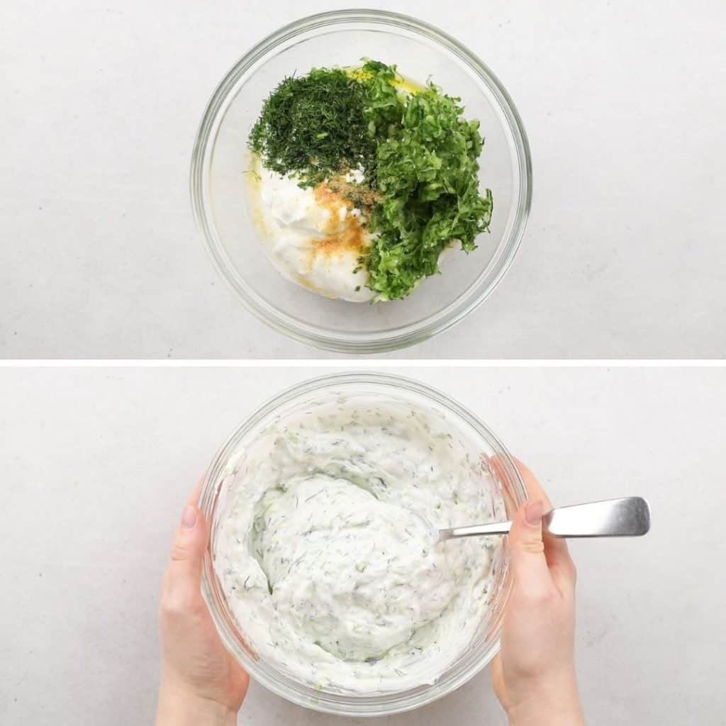 Photos of before and after of mixing Tzatziki sauce.