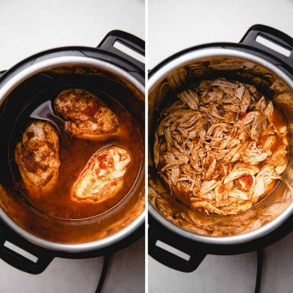 Cooked chicken in Instant Pot before and after shredding.