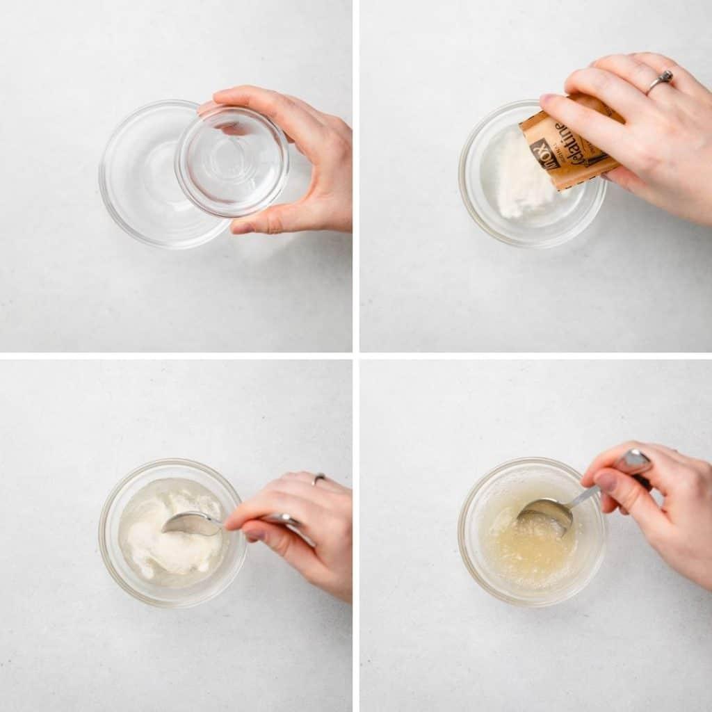 Progress photos of mixing water and gelatin.