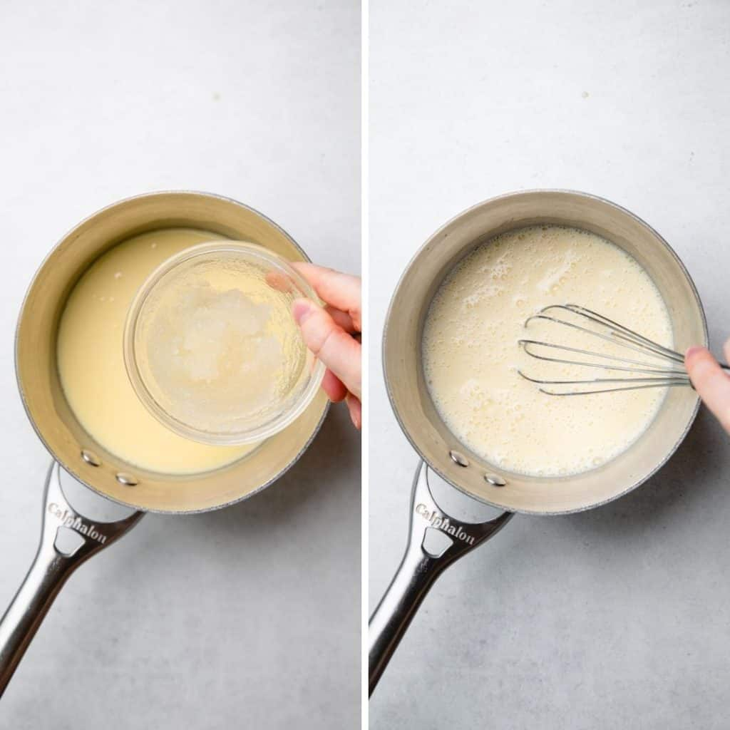Progress photos of adding gelatin to panna cotta mixture.