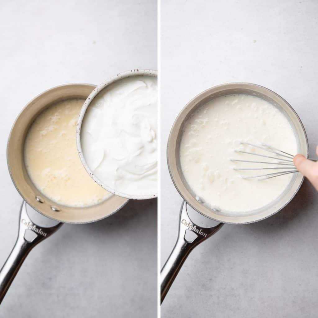 Progress photos of adding greek yogurt to panna cotta mixture.