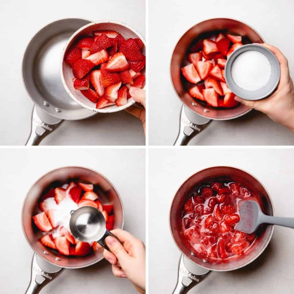 Progress photos of adding ingredients into a saucepan for a strawberry sauce.