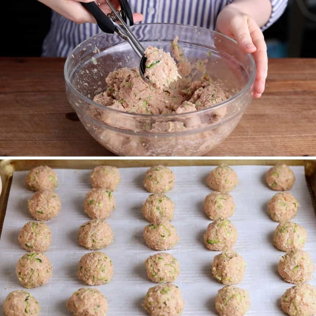Photo of scooping out meatball mixture and a photo of rolled meatballs on a baking sheet.