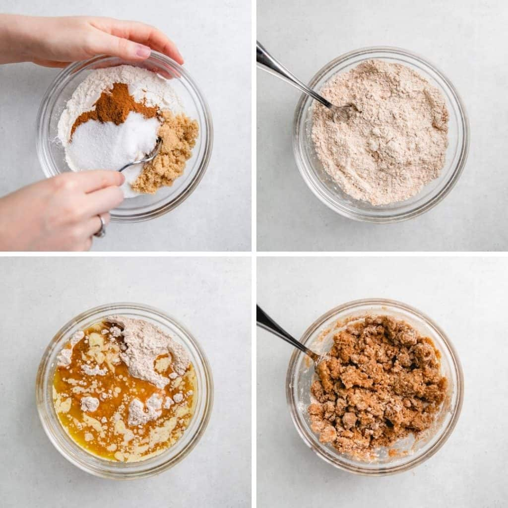 Process photos of mixing ingredients for steusel crumbs.