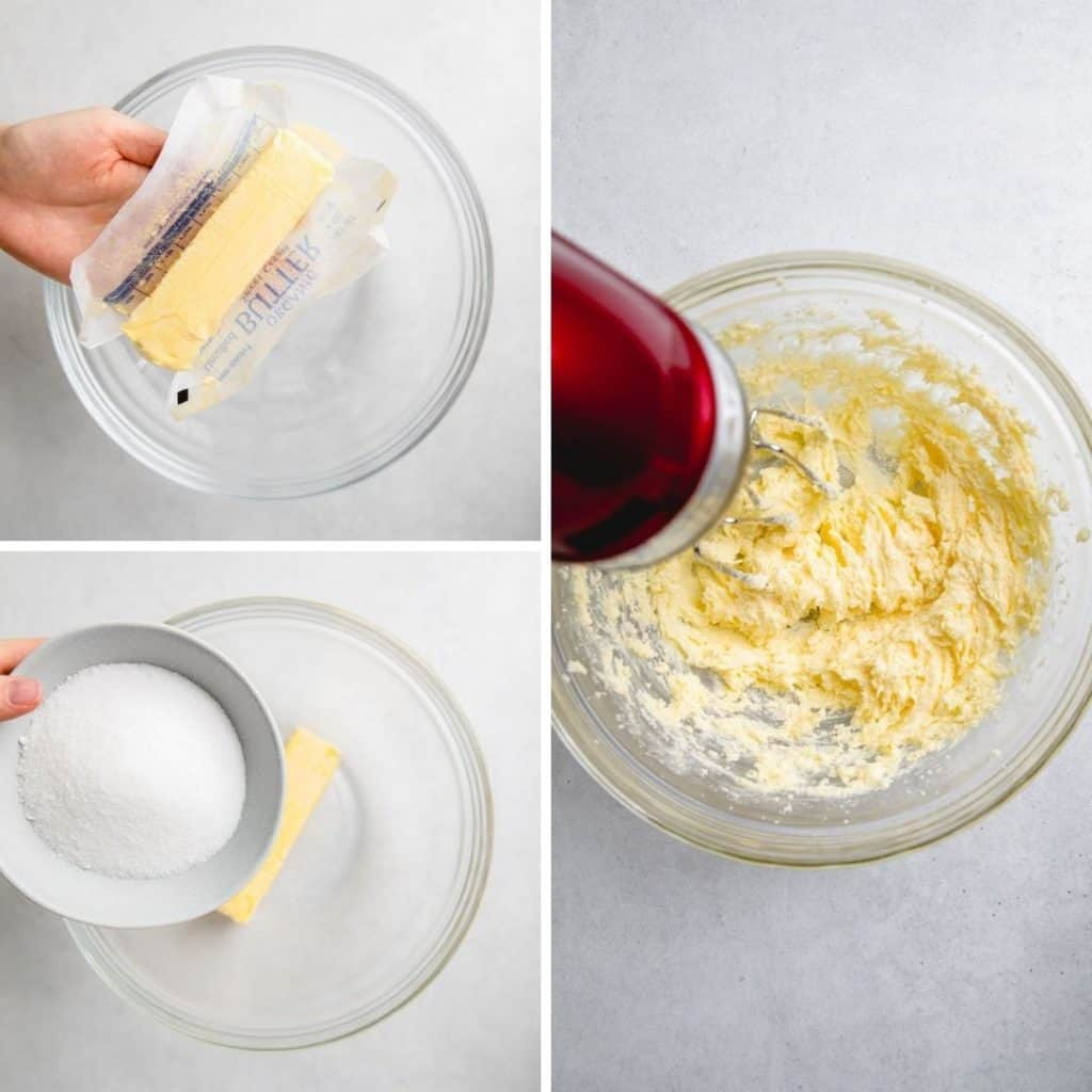 Process photos of mixing butter and sugar.