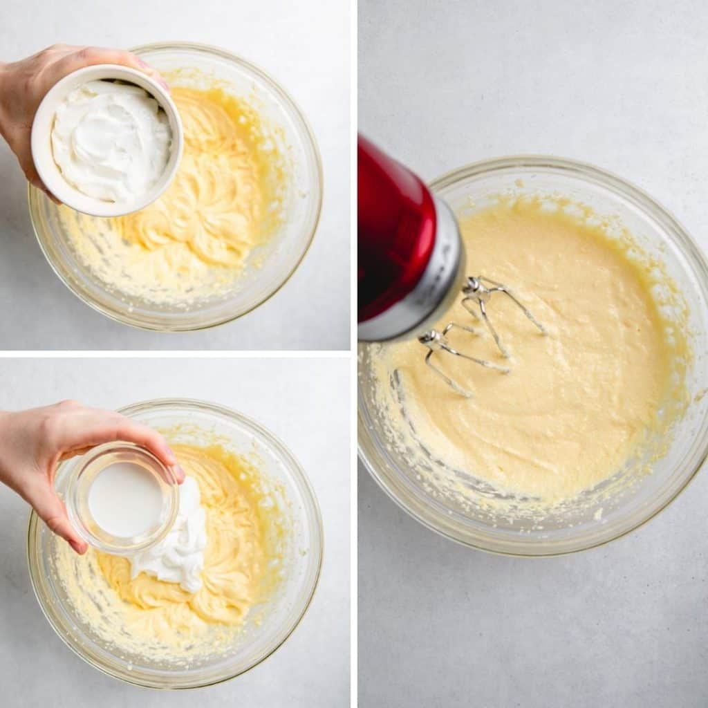 Process photos of adding sour cream and milk to the batter.