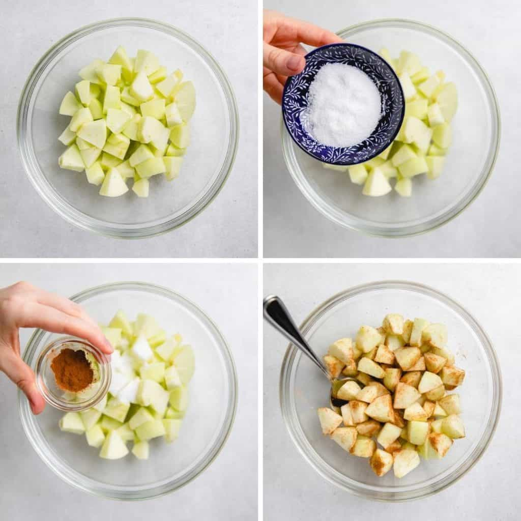 Process photos of mixing diced apples with sugar and cinnamon.