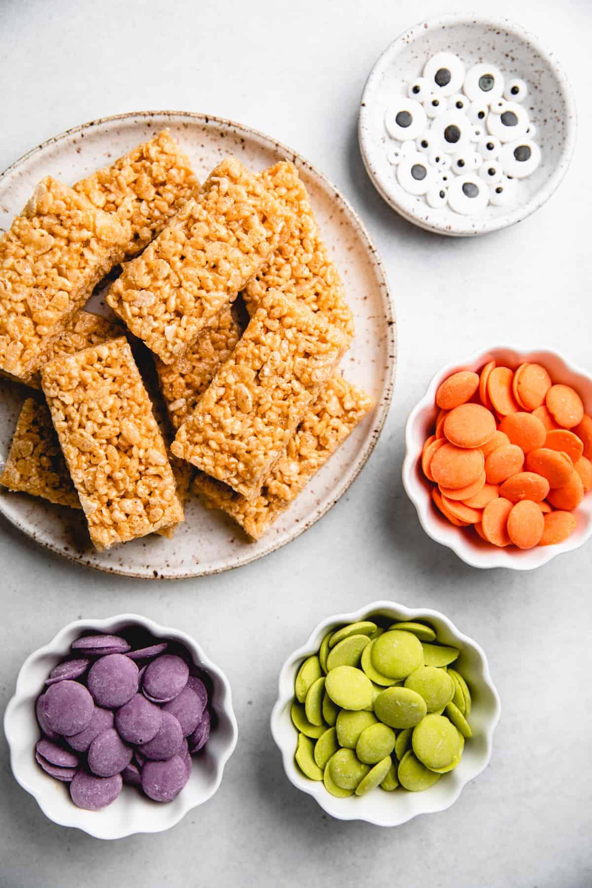 Ingredients for Halloween Rice Krispie Treats.