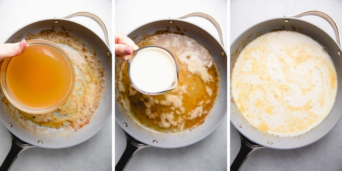 Process photos of adding chicken stock and cream to the sauce.