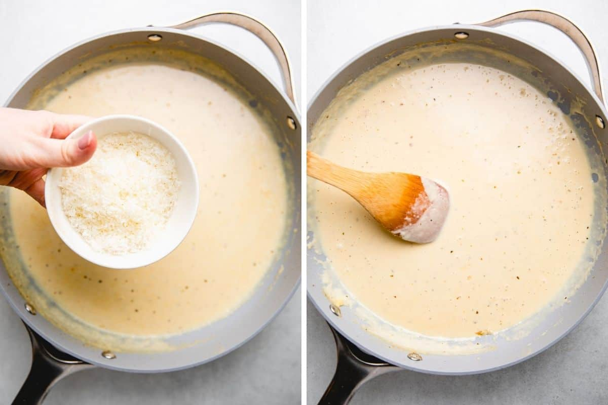 Process photos of adding grated Parmesan cheese to the creamy sauce.