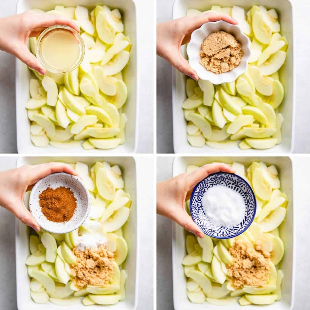 Process photos of how to make Cinnamon Baked Apples.