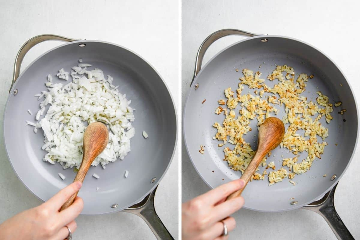 Cooking chopped onion in a skillet.