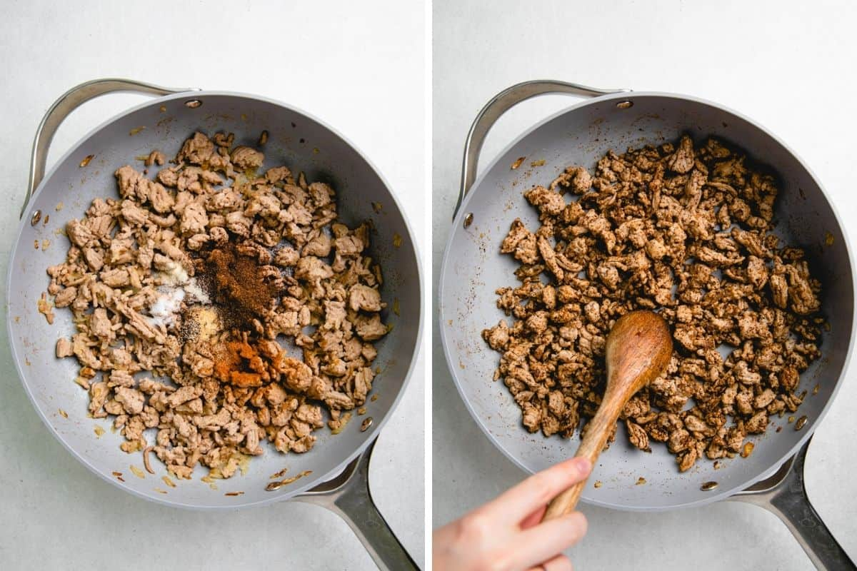 Adding seasoning to the ground turkey filling in a skillet.