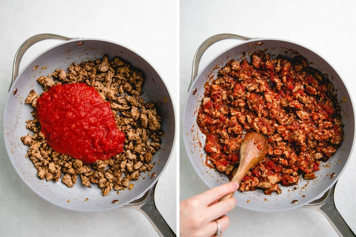 Adding crushed tomatoes to the turkey mixture in the skillet.