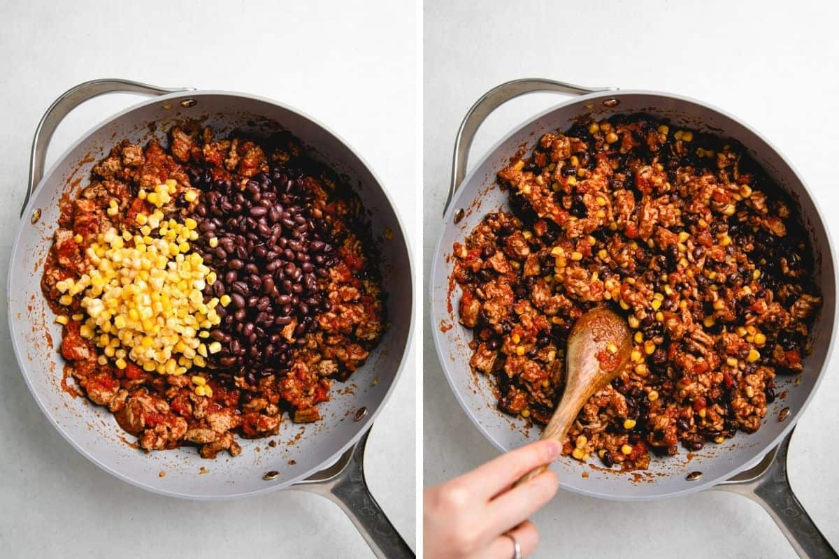 Added corn and black beans in the ground turkey mixture in a skillet.