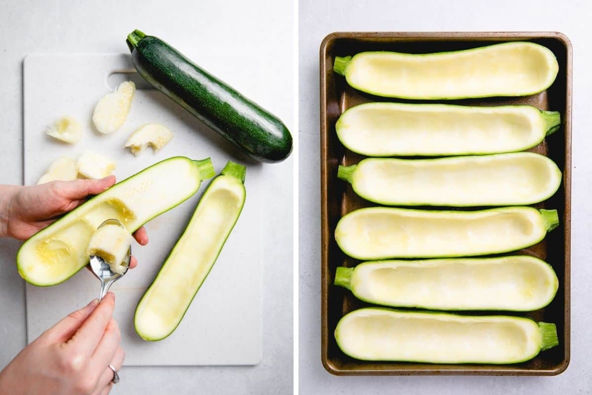 First photo: Scooping out insides from zucchini. Second photo: Cut in halves and scooped out zucchini on a baking sheet.