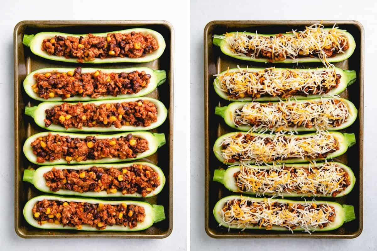 Stuffed zucchini with the ground turkey, beans, and corn filling, then sprinkled with grated cheese.
