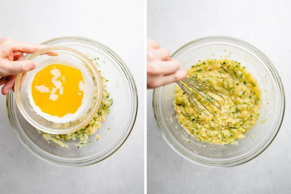 Adding melted butter into mashed bananas and shredded zucchini mixture.