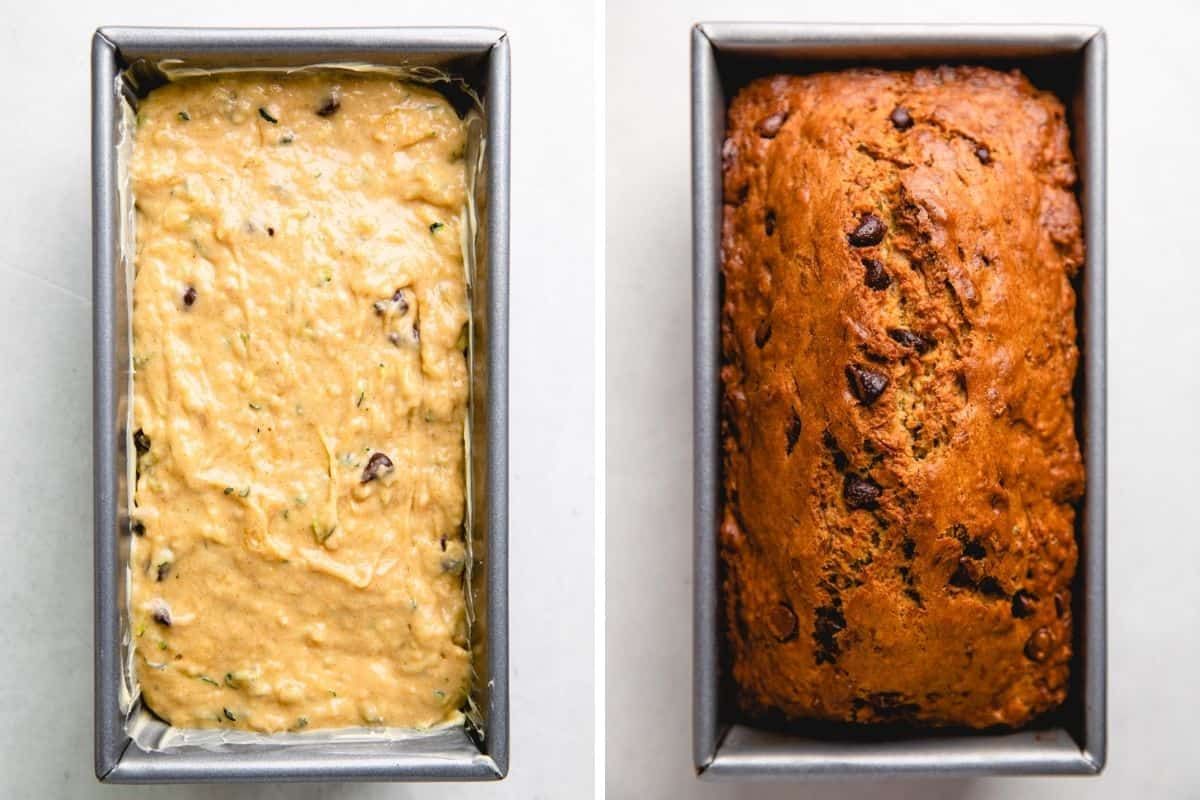 Zucchini banana bread in a loaf pan before and after baking.