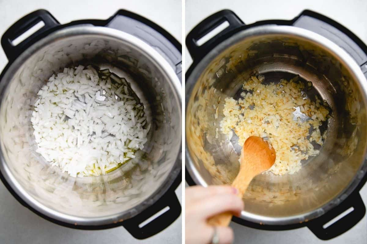 Process photos of searing chopped onion in Pressure Cooker.