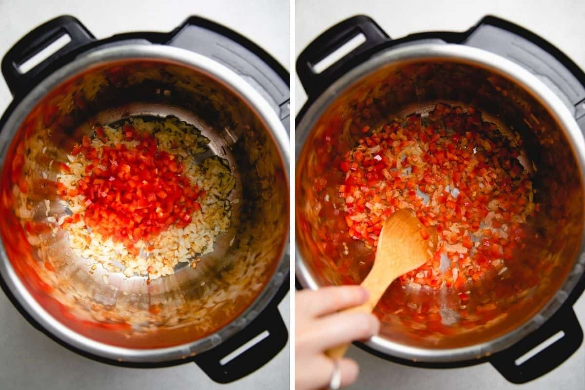 Process photos of searing onions and red bell pepper in pressure cooker.