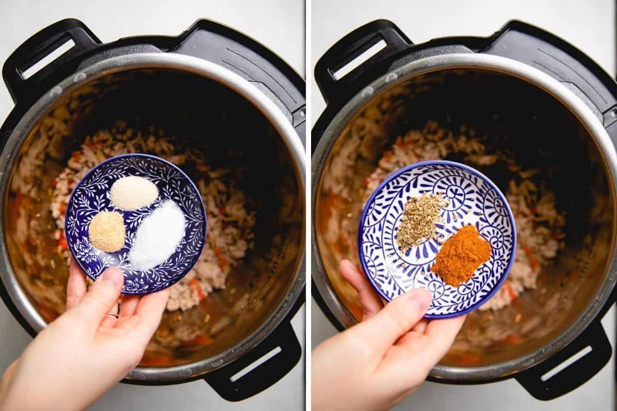 Process photos of adding spices to taco soup.
