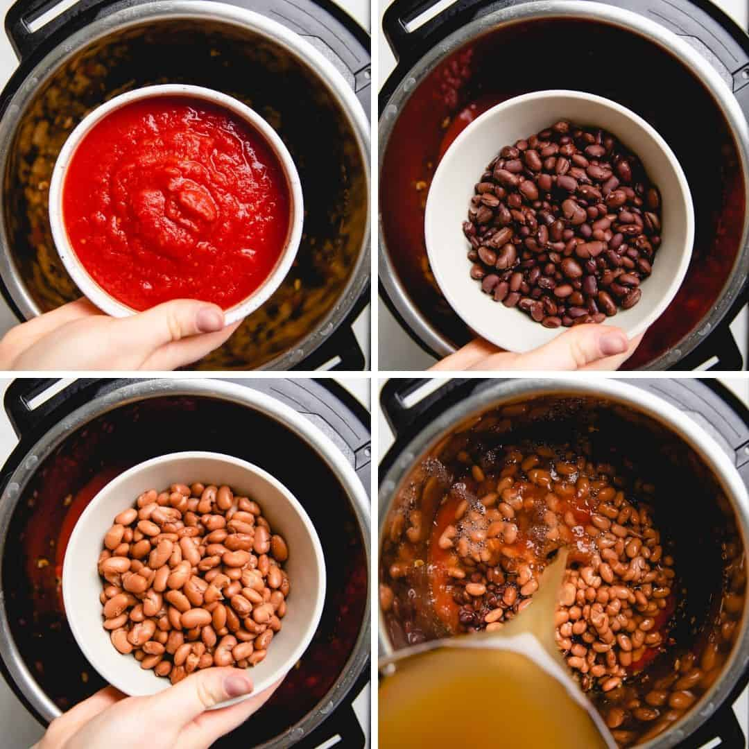 Process photos of adding ingredients to a taco soup in a pressure cooker.
