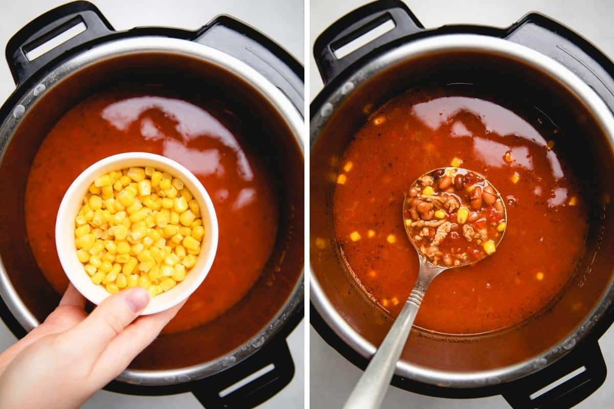 Process photos of adding sorn to a soup in a pressure cooker.