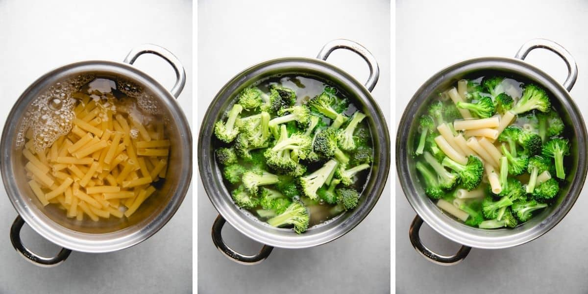 Process photos of cooking pasta and broccoli in a pot.