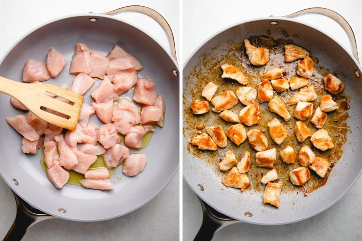 Process photos of searring diced chicken.