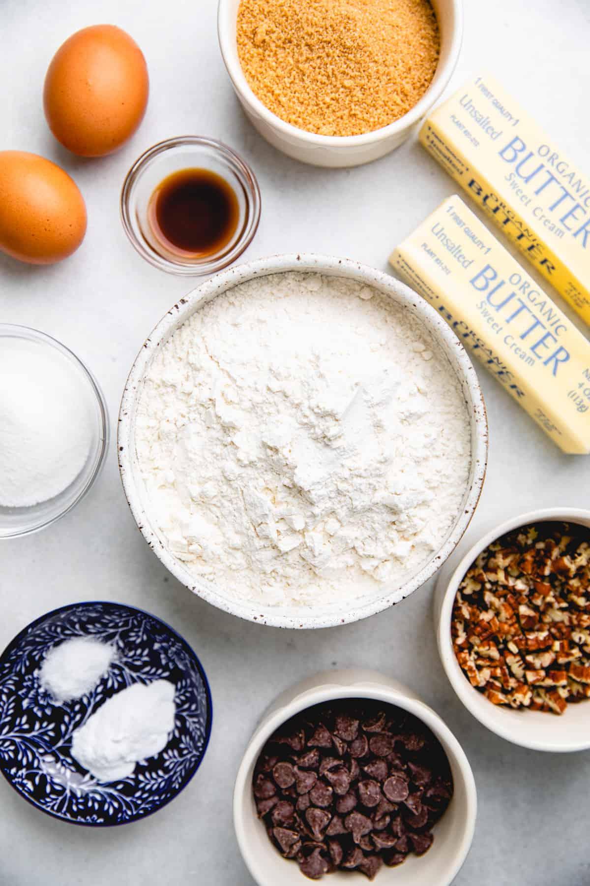 Ingredients for Pecan Chocolate Chip Cookies.