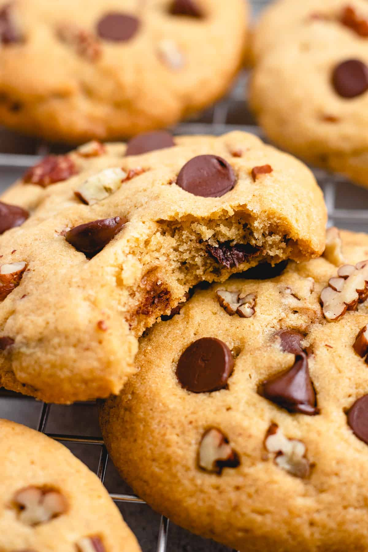A close up shot of Pecan Chocolate Chip Cookies on a wire rack.