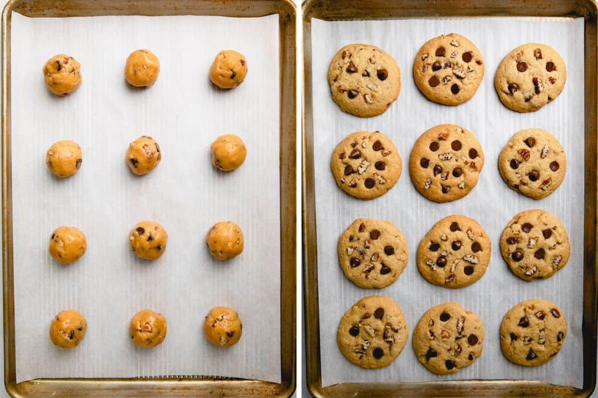 Pecan Chocolate Chip Cookies on a baking sheet with parchment paper before and after baking.