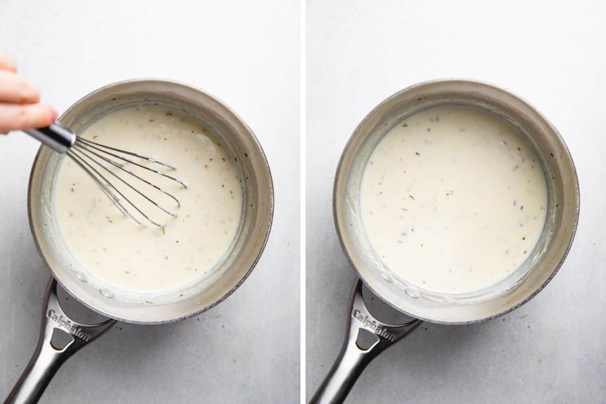 Process photos of stiring creamy sauce.