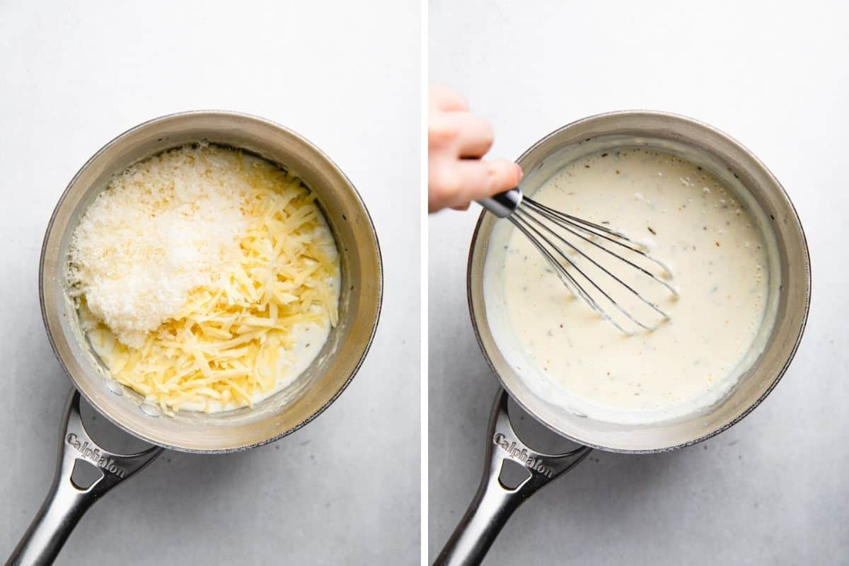 Process photos of adding cheese to the creamy sauce.