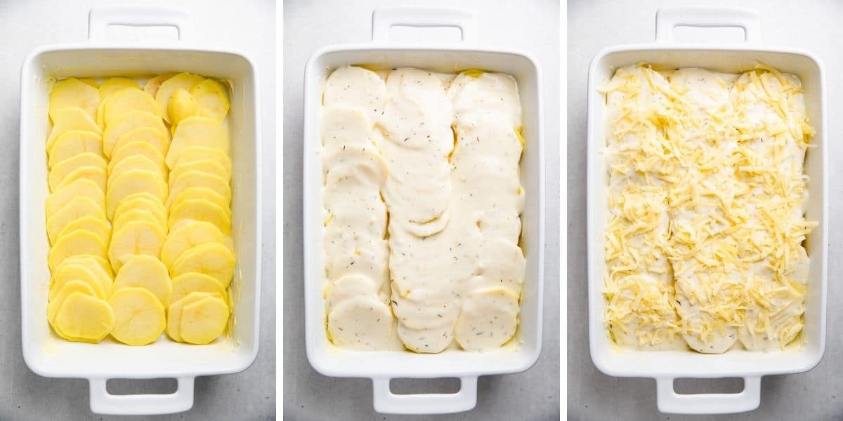 Process photos of layering Gruyere Potatoes Au Gratin in a white baking dish.