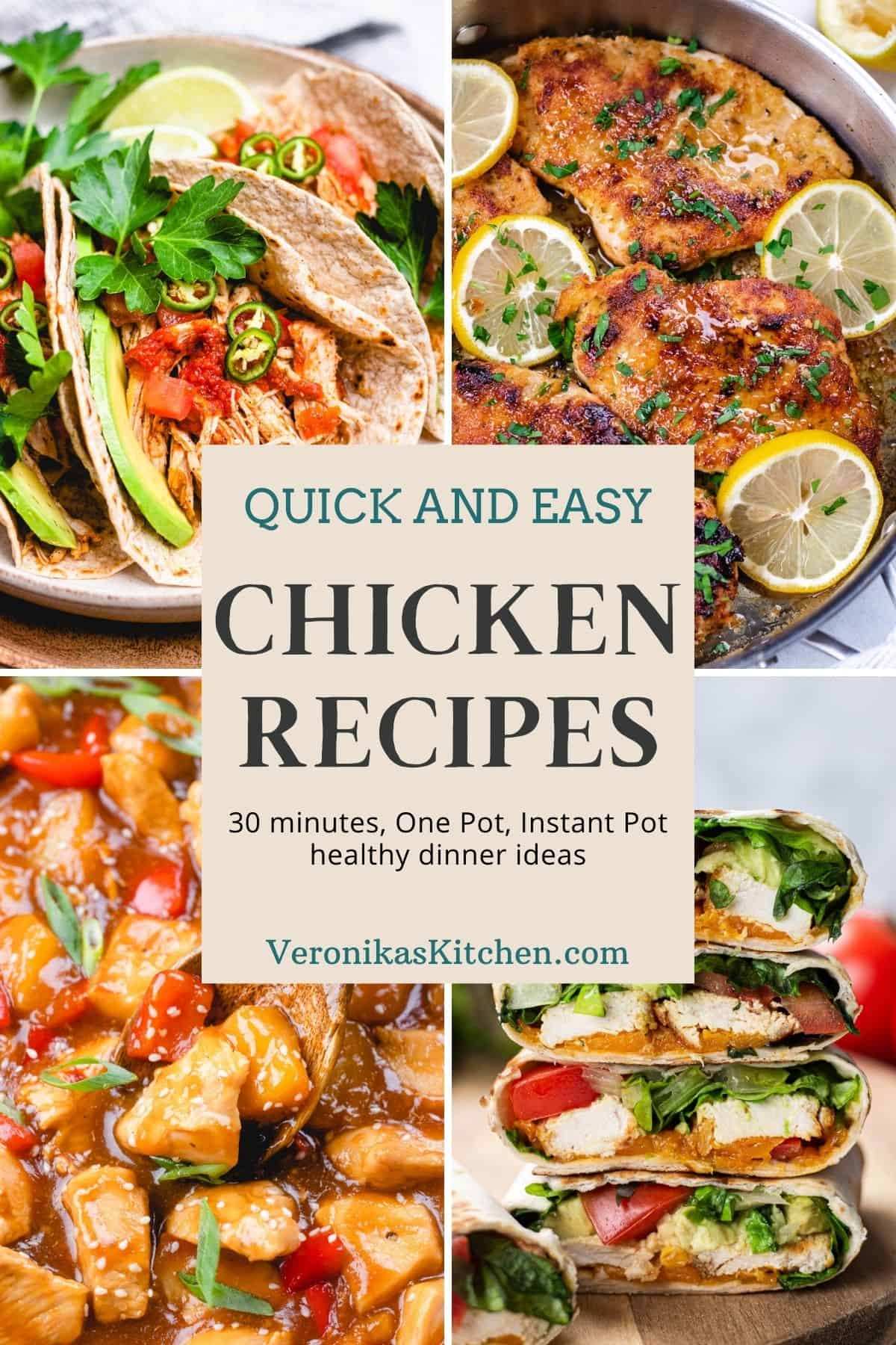 A collage of four chicken recipes with text in the middle.