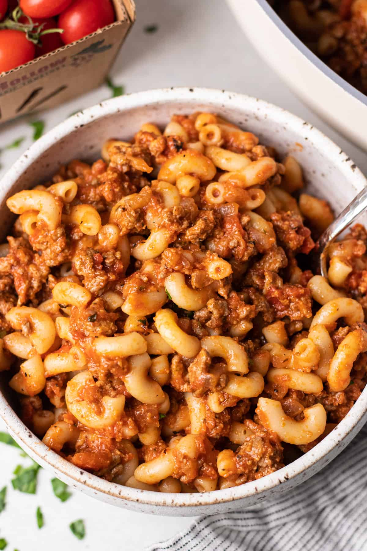 Old Fasioned American Goulash, made with round beef, tomato sauce, and elbow macaroni.