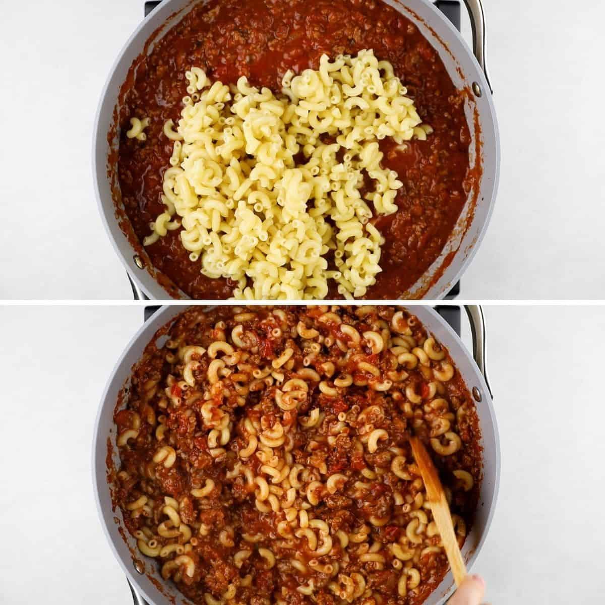 Process photos of adding elbow pasta to goulash.