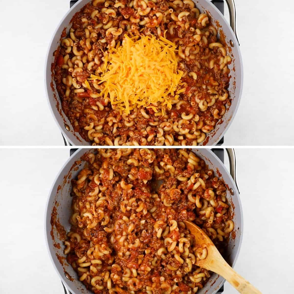 Process photos of adding greated cheddar cheese to goulash and mixing.